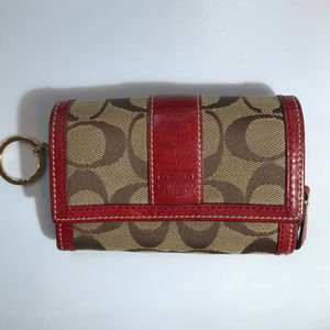 Coach Tan Red C Signature Design Leather Wallet